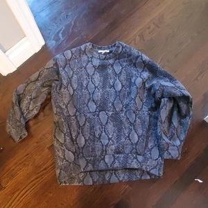 Express cozy fleece snake print tunic
